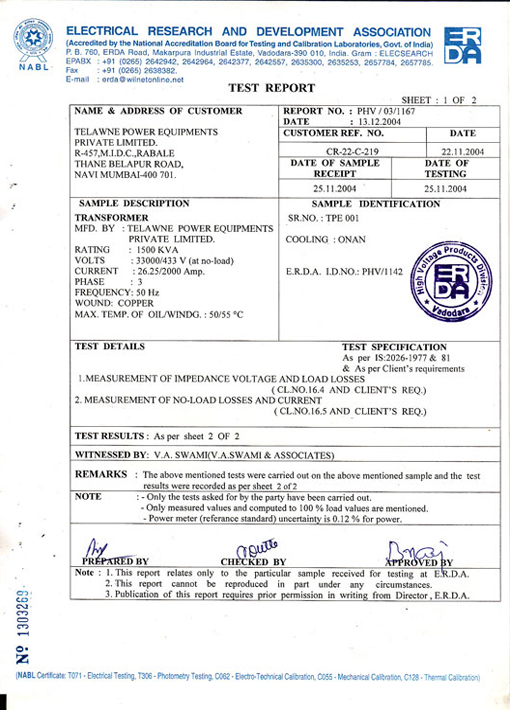 Test Certificates | Telawne Power Equipments Pvt  Ltd